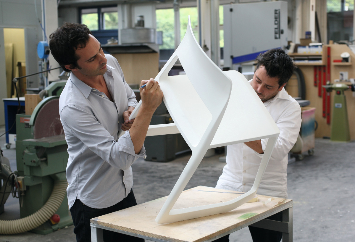 Barber and Osgerby working on their earlier Tip Ton chair for Vitra. As reproduced in our new book