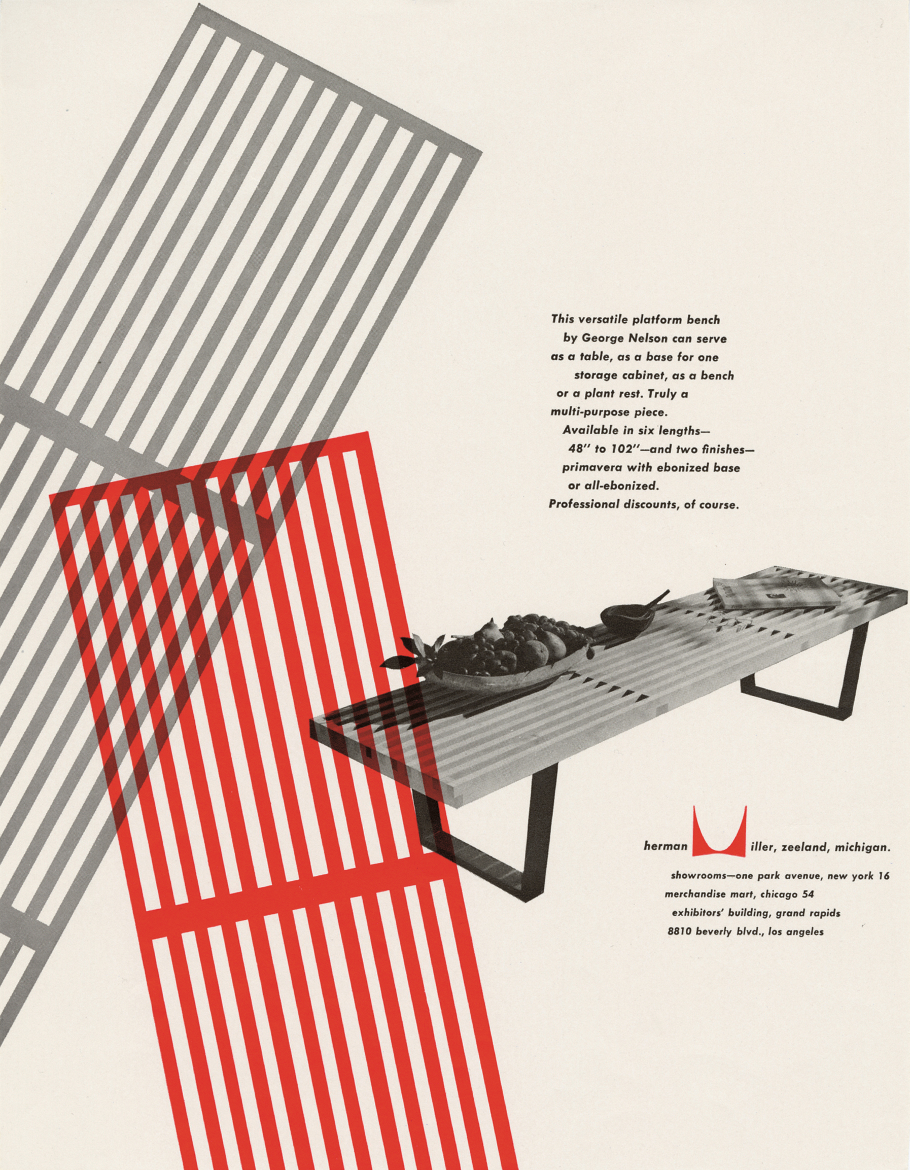 Basic Cabinet Series, Slat Bench by George Nelson; Herman Miller, advertisement designed by Irving Harper, 1950. Picture credit: courtesy and copyright © Herman Miller Archives