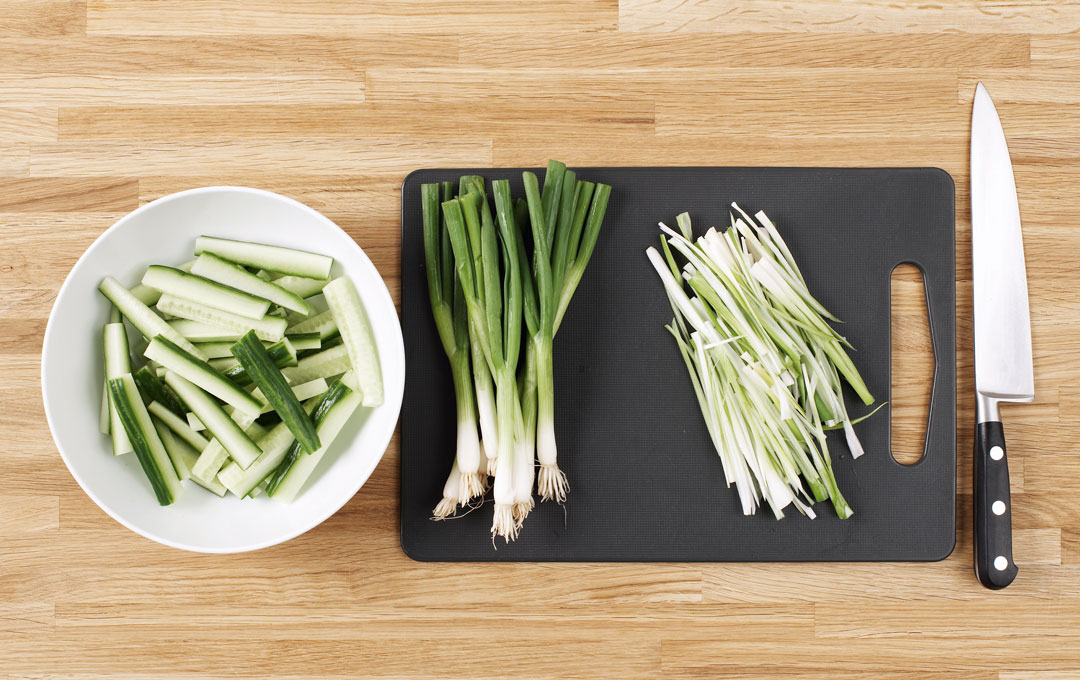 The vegetables for Jane Hornby's crispy duck pancakes