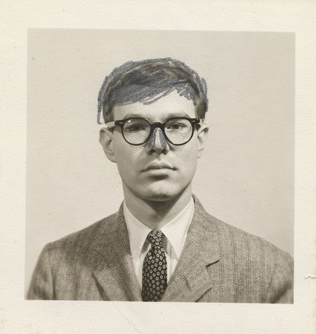 Andy Warhol self-portrait passport photograph with altered nose, 1956