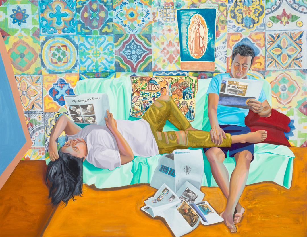 Aliza Nisenbaum, La Talaverita, Sunday Morning NY Times, 2016. Oil on linen, 68 x 88 in. (172.7 x 223.5 cm). Collection of the artist; courtesy T293 Gallery, Rome and Mary Mary, Glasgow