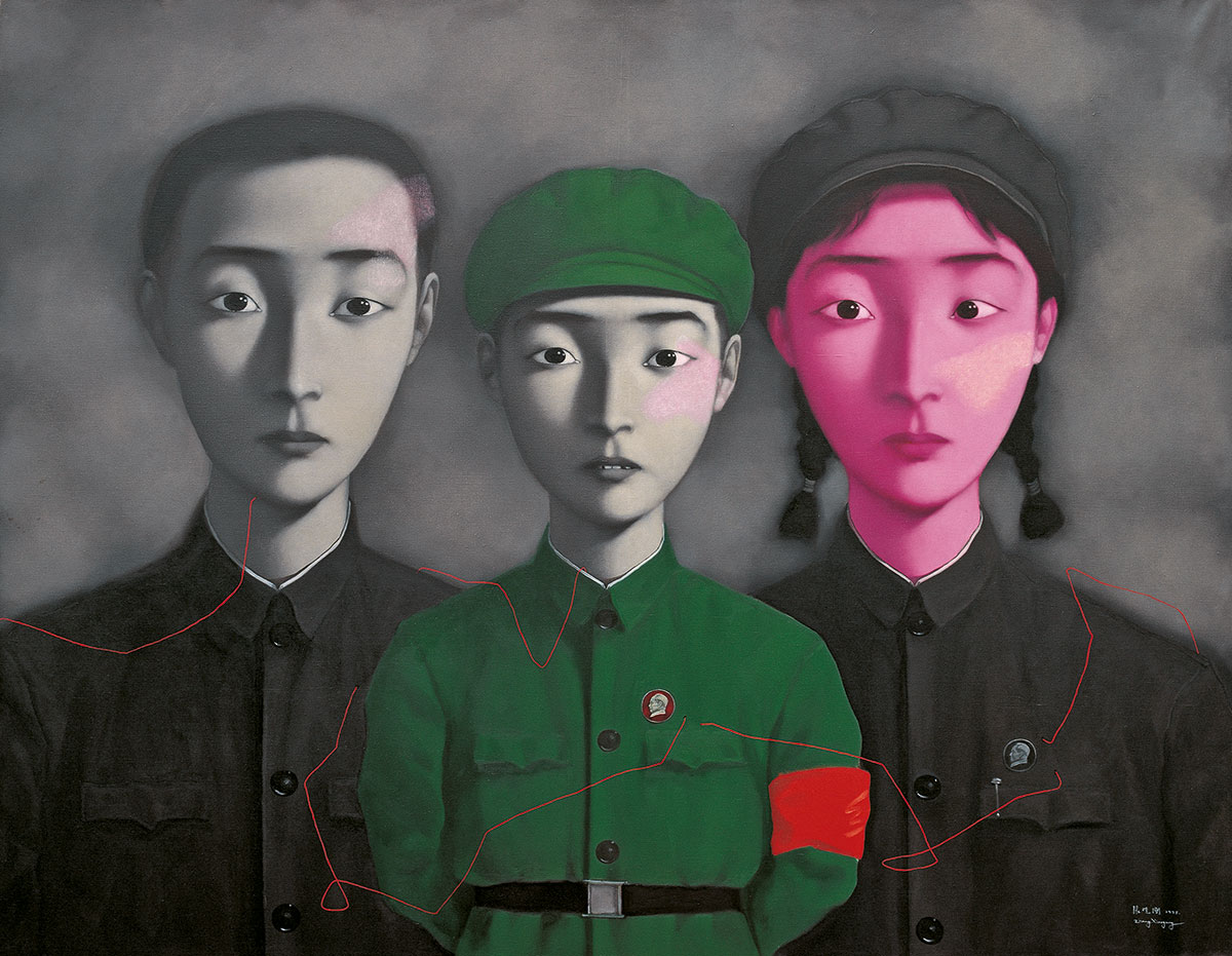 Bloodline – Big Family No. 3, (1995)  by Zhang Xiaogang. As reproduced in Zhang Xiaogang: Disquieting Memories.