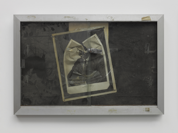 A Maimed King (detail), 2012, photograph, metal, glass, dust, chair, 61 x 91 x 6 cm. From Theaster Gates