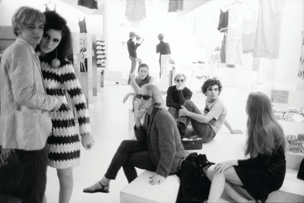 Stephen Shore: Rene Ricard, Susan Bottomly, Eric Emerson, unidentified woman; middle row: Mary (Might) Woronov, Andy Warhol, Ronnie Cutrone; background: Paul Morrissey, Edie Sedgwick. Paraphernalia's opening and show (1966); clothes designer Betsey Johnson, store owner Paul Young, 1965-7 (page 113). © Stephen Shore