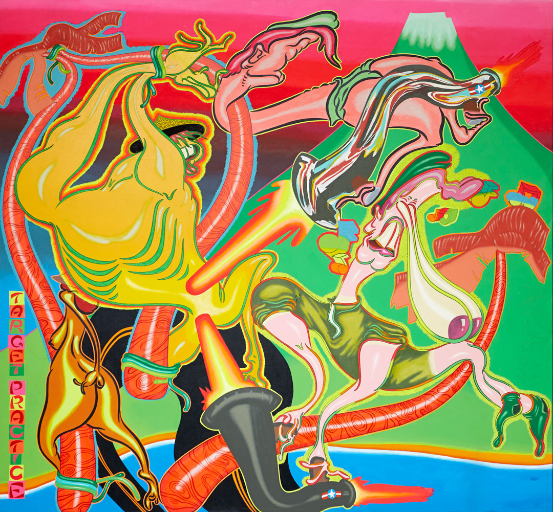 Peter Saul, Target Practice, 1968. Acrylic on canvas, 91 1/2 x 99 1/2 in (232.4 x 252.7 cm). Hirshhorn Museum and Sculpture Garden, Smithsonian Institution, Washington, DC; Joseph H. Hirshhorn Purchase Fund, 2016. Courtesy Venus Over Manhattan, New York