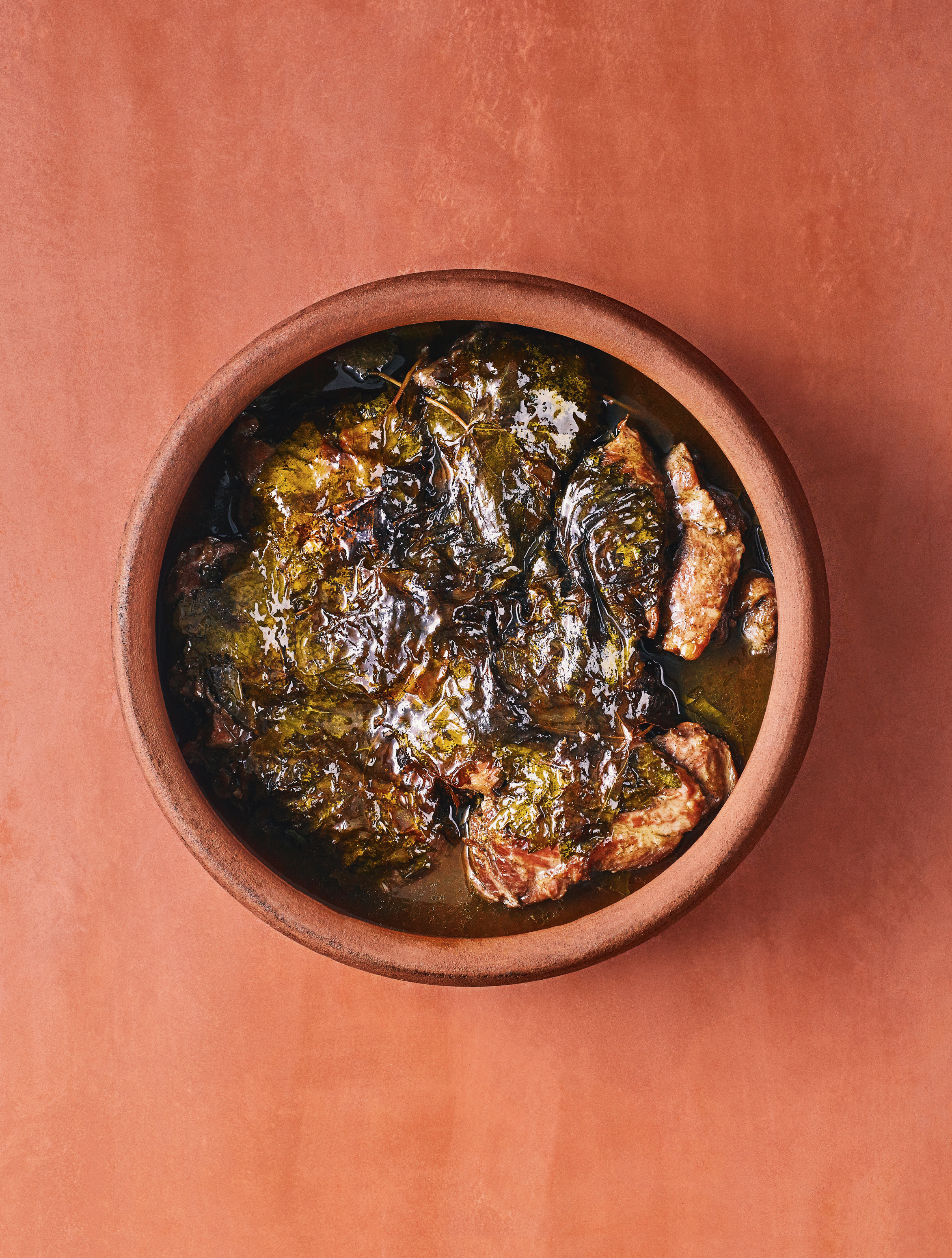 Grape leaves and braised short ribs