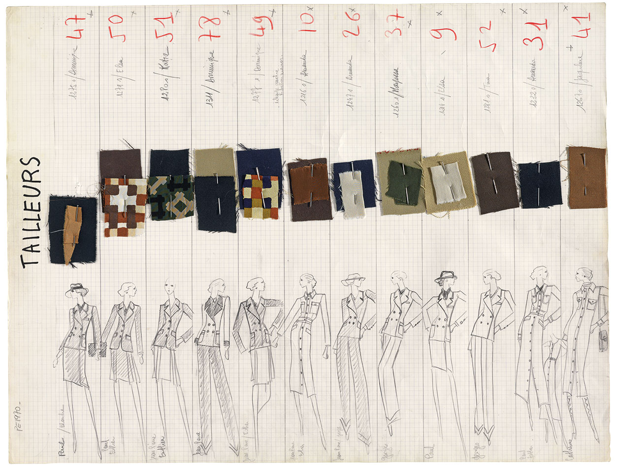 Sheet of designs for the Spring/Summer 1970 haute couture collection, incorporating a series of buttoned day suits. Picture credit: © Fondation Pierre Bergé – Yves Saint Laurent, Paris/All Rights Reserved