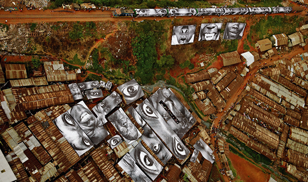 JR's work in Kibera, Kenya, as reproduced in JR: Can Art Change the World?