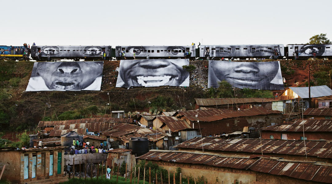 Train passing, Kibera, Kenya, 2009