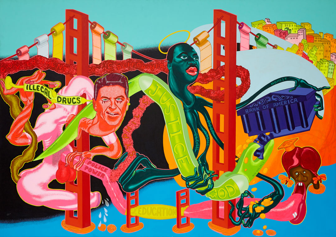 Peter Saul, The Government of California, 1969. Oil on canvas, 68 x 96 in (172.7 x 243.8 cm). Courtesy Venus Over Manhattan, New York