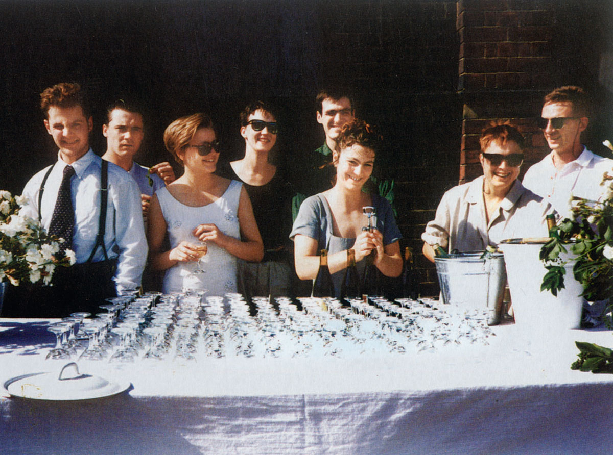 """Freeze"" opening party, showing (left to right), Ian Davenport, Damien Hirst, Angela Bulloch, Fiona Rae, Stephen Park, Anya Gallaccio, Sarah Lucas and Gary Hume. As reproduced in Biennials and Beyond"