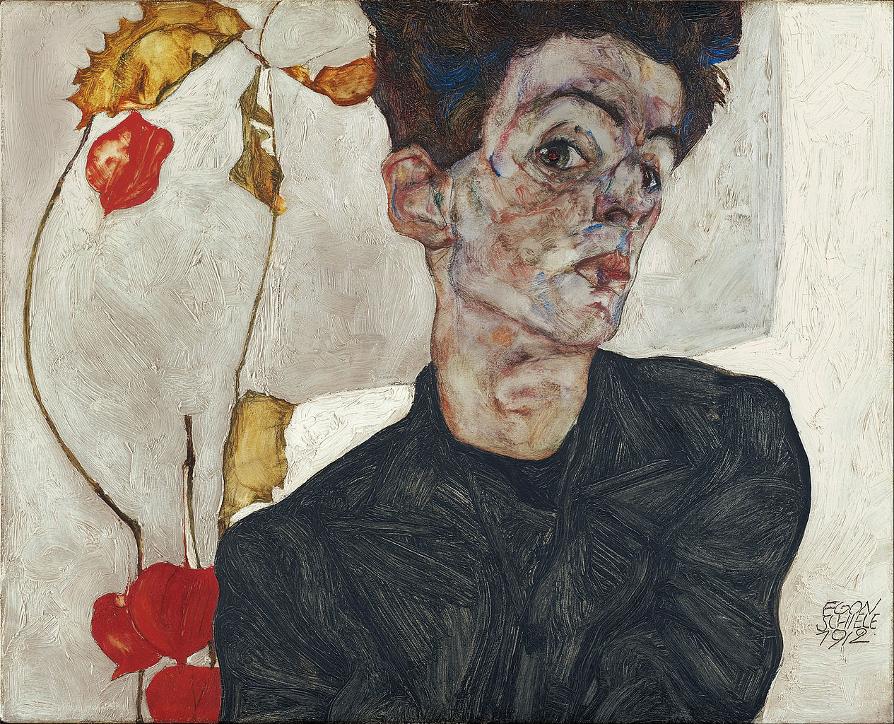 Self-portrait with Chinese Lanterns (1912) by Egon Schiele. As reproduced in 30,000 Years of Art