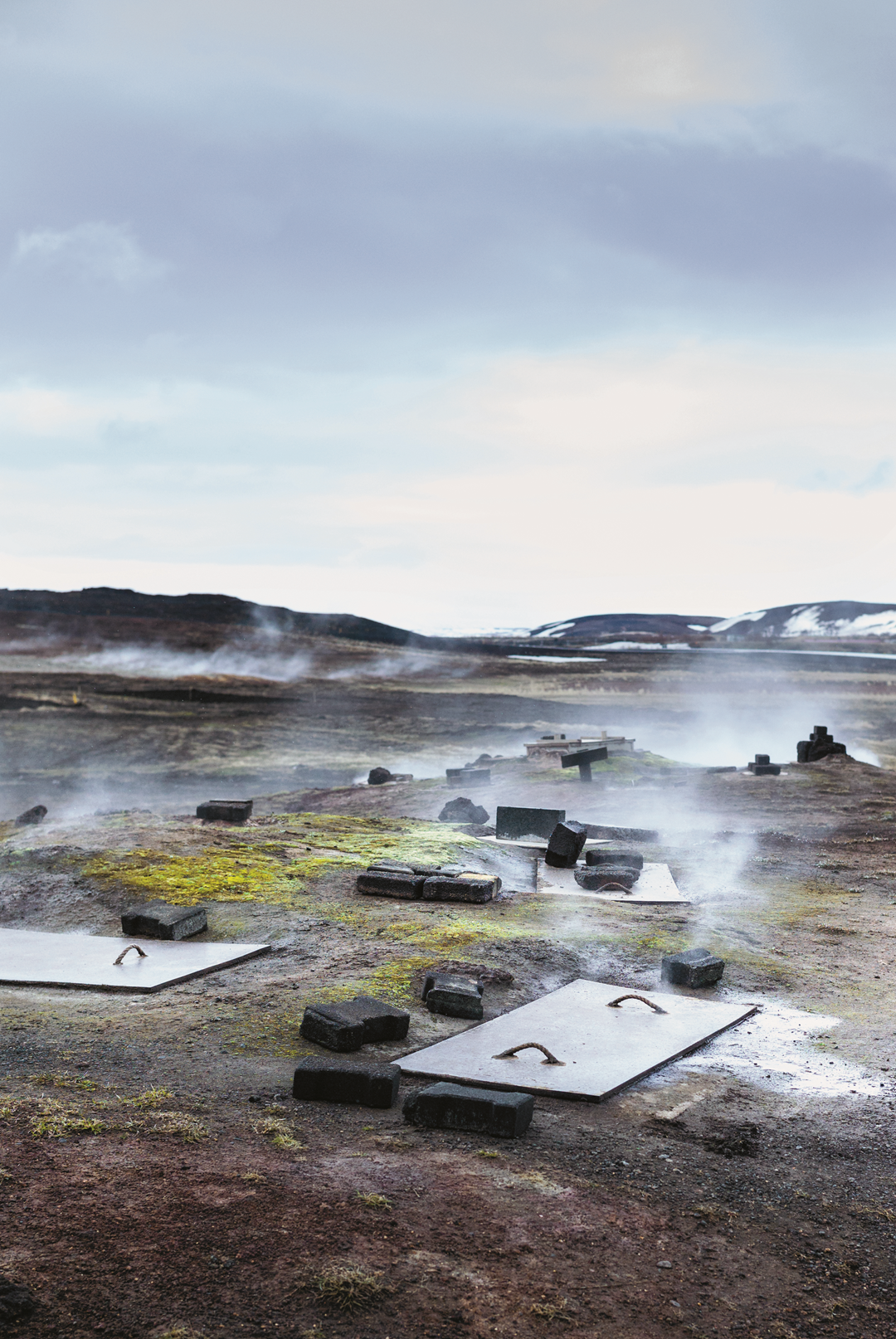 Thermally active area, south of Lake Mývatn, Iceland, May 2013; the site is considered a communal area and each family in the neighbouring village has their own hole in the ground in which they bake Icelandic Rye Bread. Photography by Magnus Nilsson