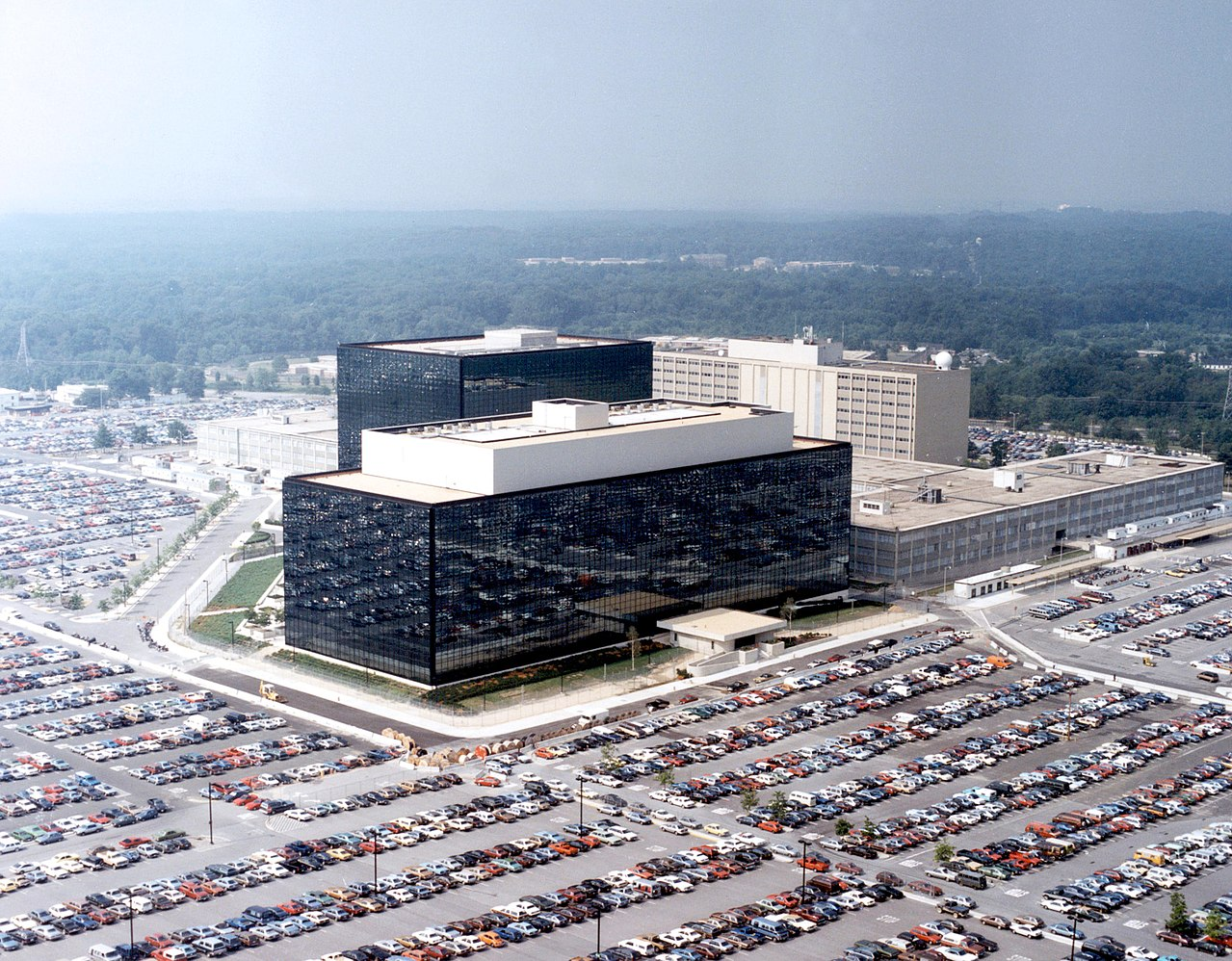 The National Security Agency's headquarters, Fort Meade, Maryland. Image courtesy of the NSA, via Wikimedia Commons