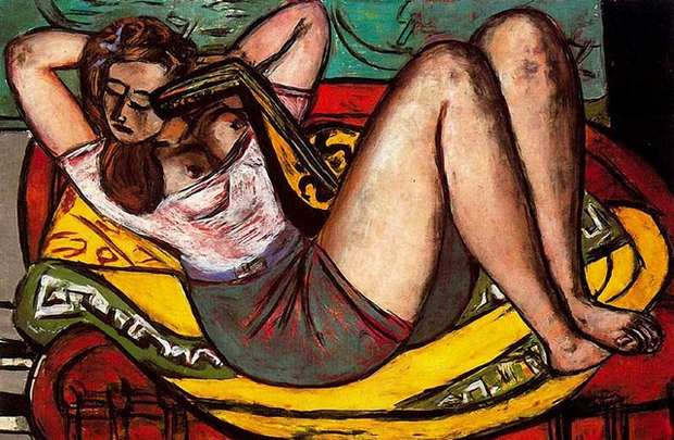 Max Beckmann, Woman with Mandolin in Yellow and Red (1950), oil on canvas, 36 1/4 x 55 1/8 in (92 x 140 cm) © VG Bild-Kunst, Bonn 2012