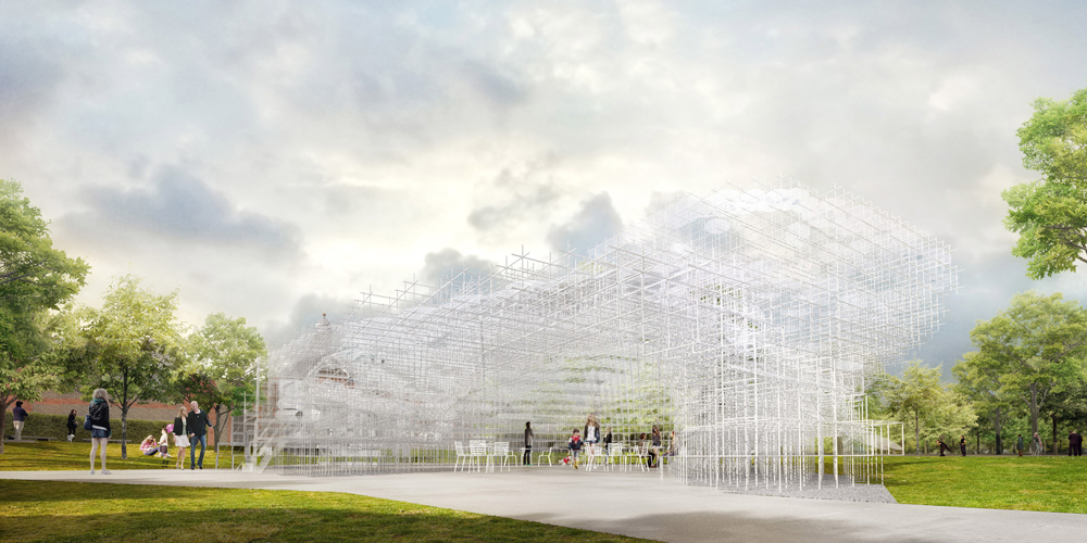 The exterior of this summer's pavilion, by Sou Fujimoto