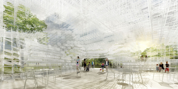 The interior of Sou Fujimoto's proposed 2013 pavilion