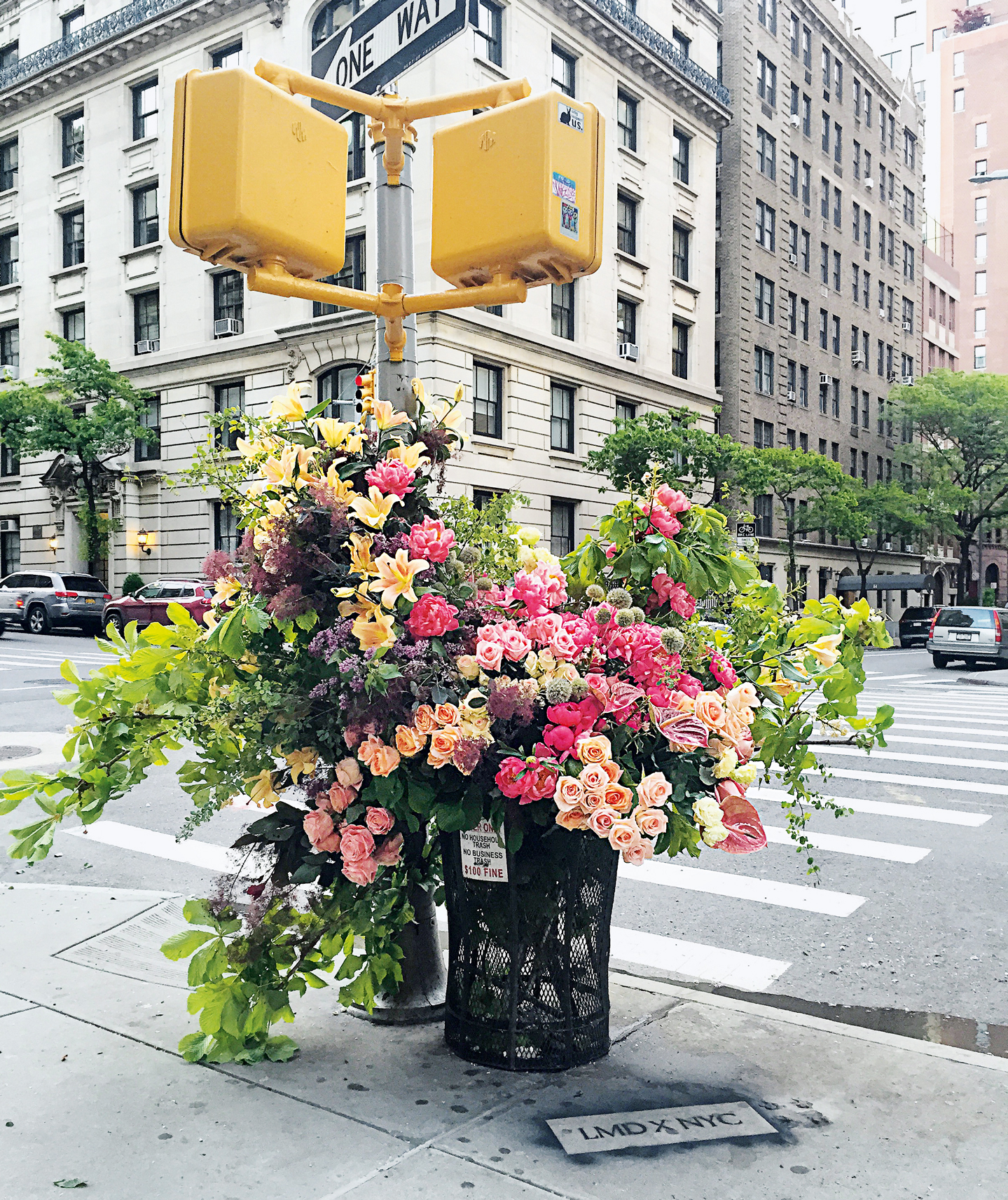 Trash Can Flower Flash Upper East Side Manhattan, NYC - Lewis Miller as featured in Blooms Contemporary Floral Design