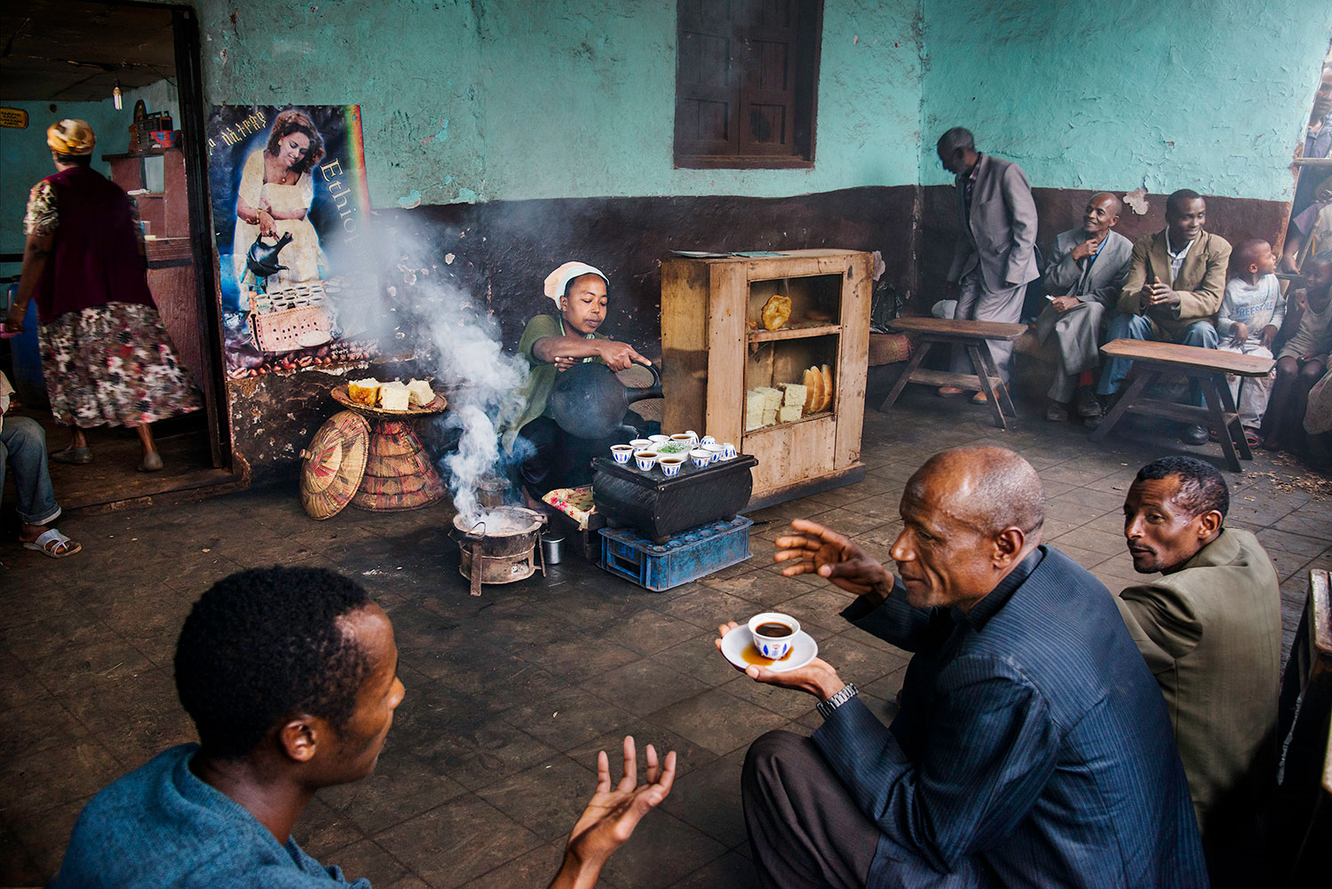 A woman prepares for a coffee ritual, Amaro region, Ethiopia, 2014. All photographs by Steve McCurry