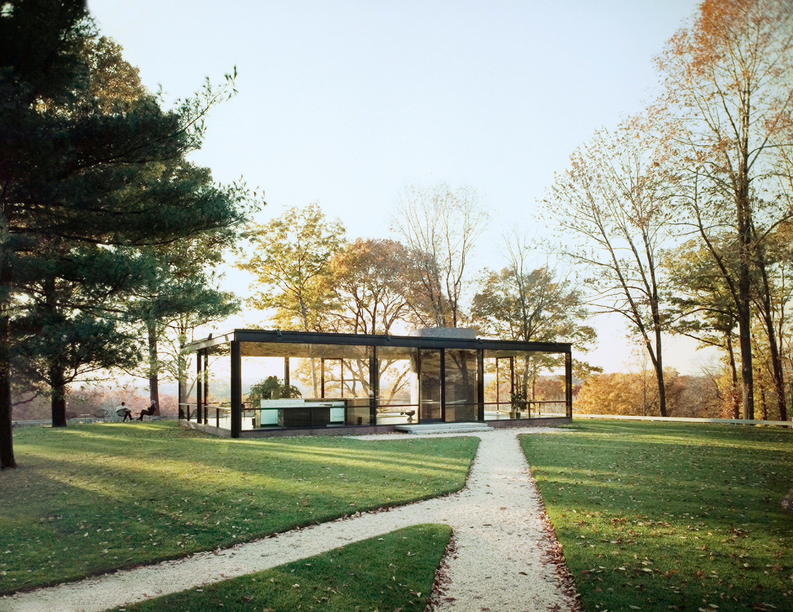 View from the south-east of the Glass House, New Canaan, Connecticut, 1949. Photograph by Ezra Stoller