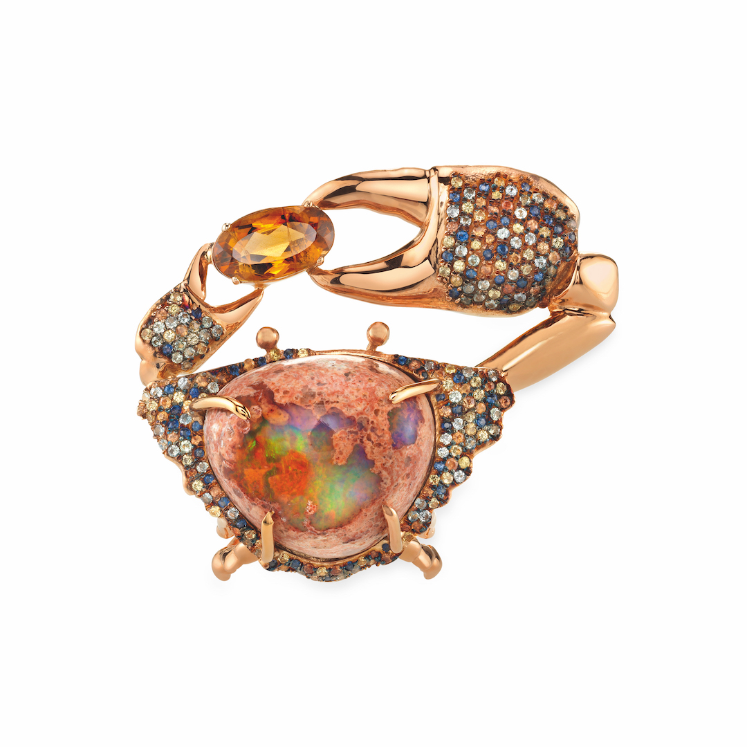 Daniela Villegas, Grannus Ring, 2017. Mexican opal (24.5cts), orange tourmalines, and sapphires in pink gold.