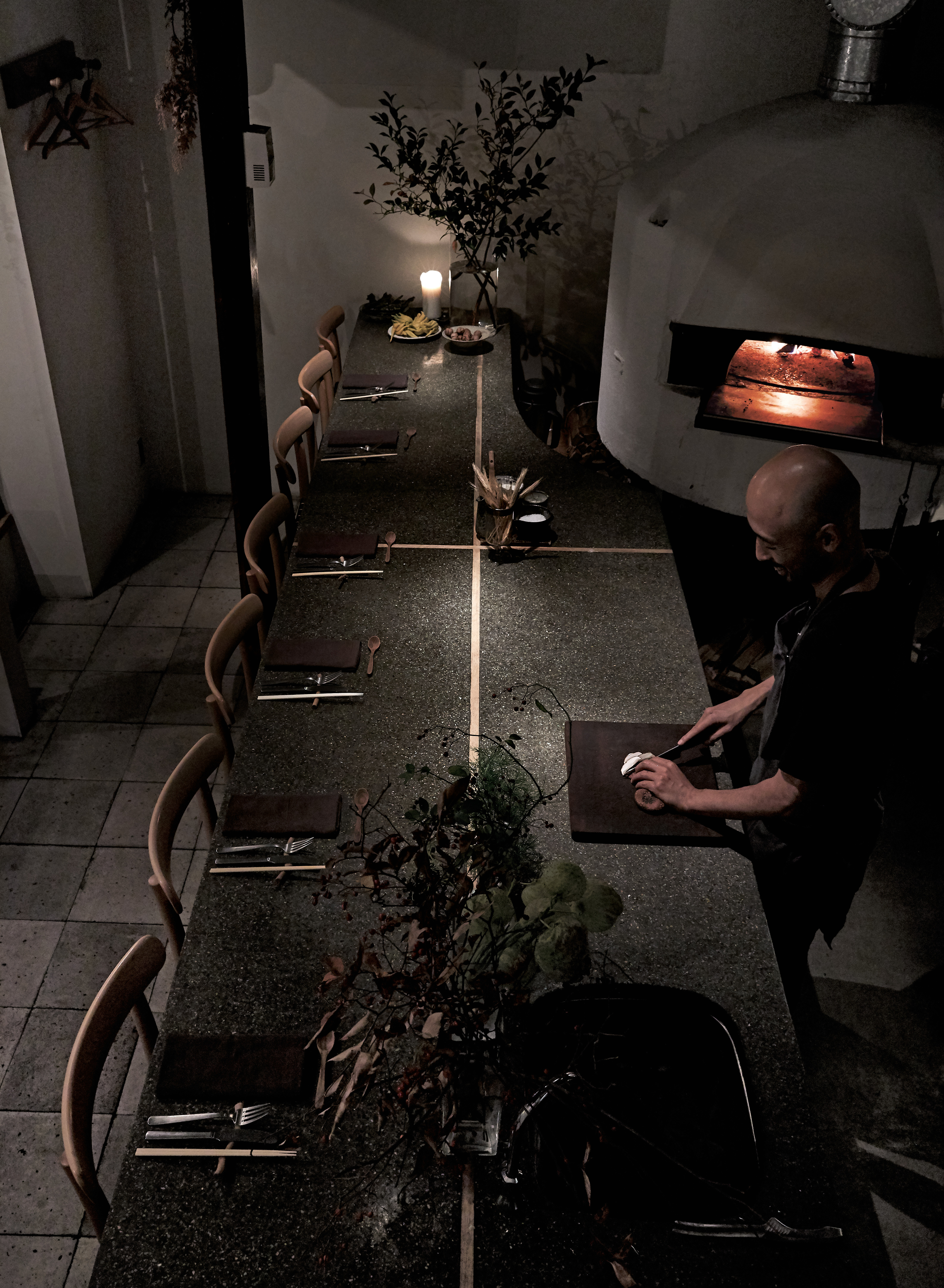Yoshihiro Imai inside his restaurant, monk. All photographs by Yuka Yanazume