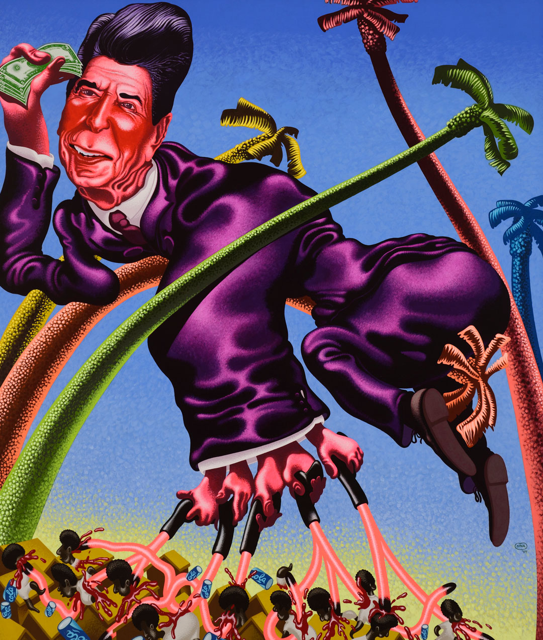 Peter Saul, Ronald Reagan in Grenada, 1984. Acrylic on canvas, 82 1/2 x 71 in (209.6 x 180.3 cm). Hall Collection. Courtesy Hall Art Foundation. Photo: Jeffrey Nintzel