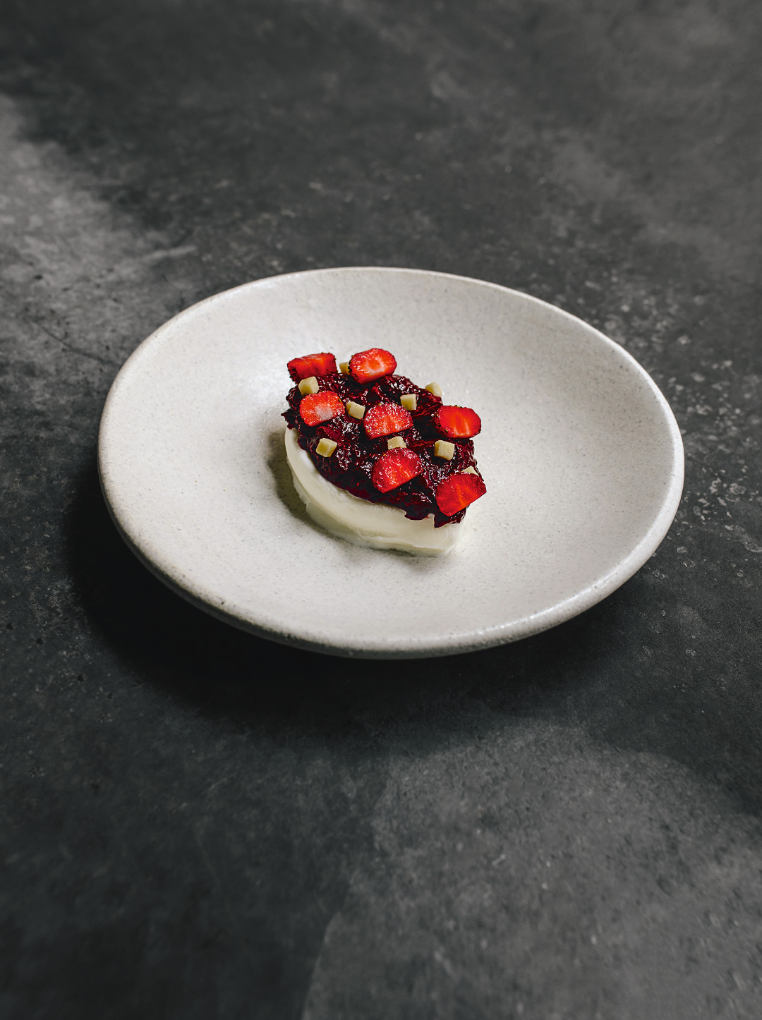 Strawberry, lavender, from A Very Serious Cookbook. Photo by Matty Yangwoo Kim