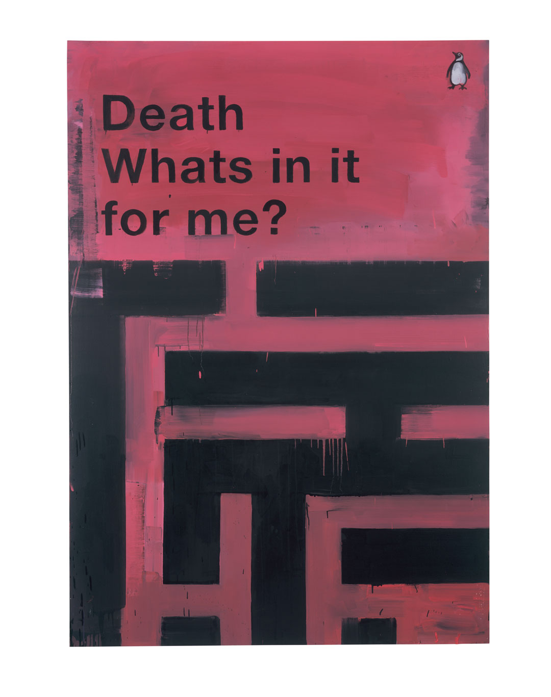 Death – What's In It For Me?, 2008, oil on canvas, 213 × 155 cm (83 7/8 × 61 in). © Harland Miller