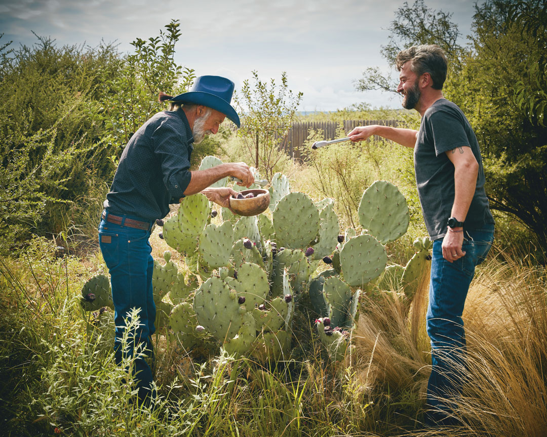 Mentor Jon Sufficool (left) and Rocky Barnette (right) pick prickly pears in Marfa, Texas. All photography by Douglas Friedman