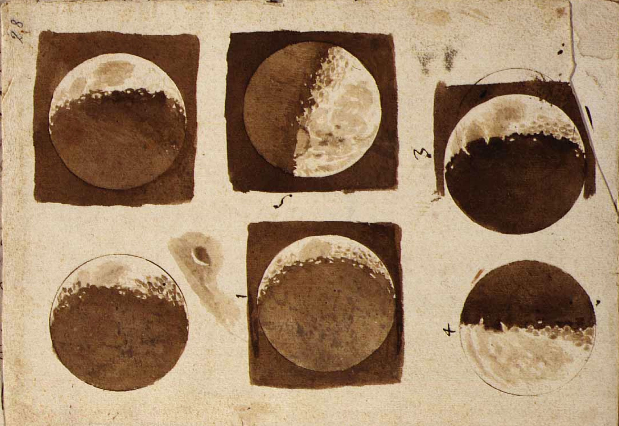 Detail from the moon, 1609, by Galileo Galilei. As reproduced in Universe
