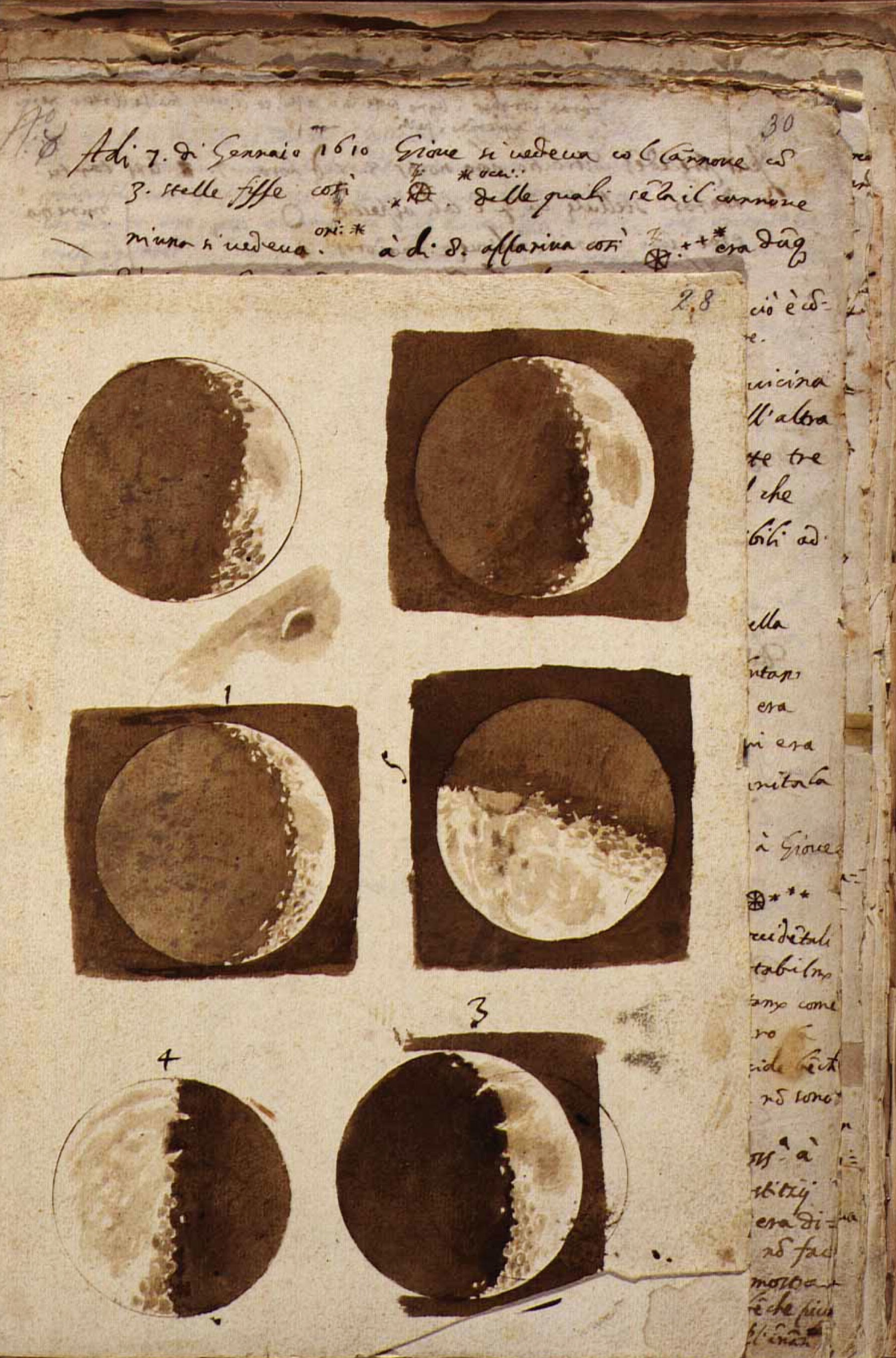 The moon, 1609, by Galileo Galilei. As reproduced in Universe