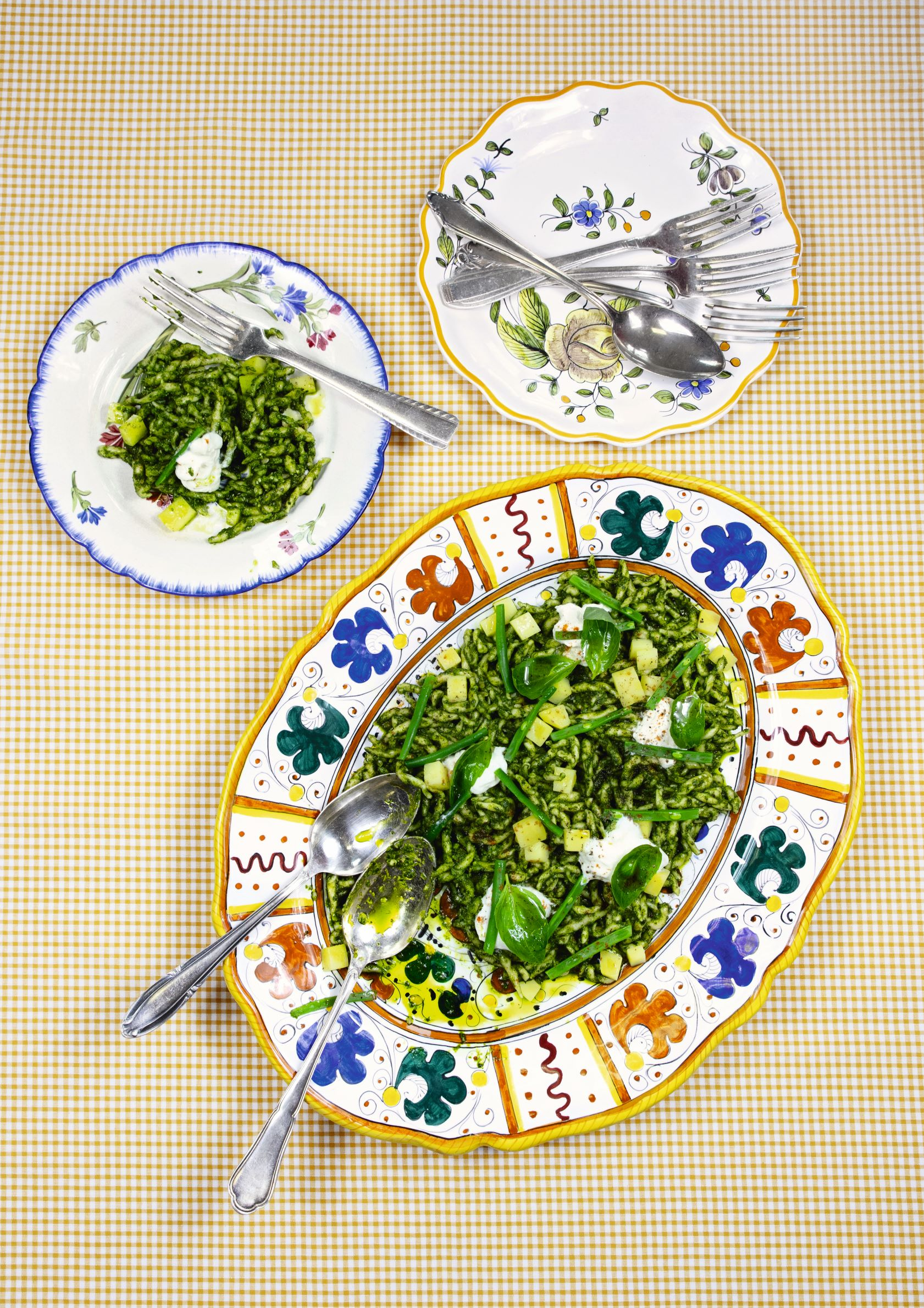 Pestogether. Trofie pasta with potatoes, green beans, green pesto and burrata. From Big Mamma Cucina Popolare