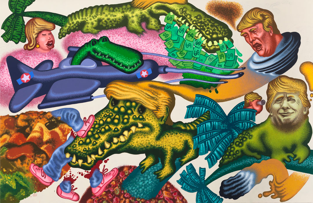 Peter Saul, Donald Trump in Florida, 2017. Acrylic on canvas, 78 x 120 in (198.1 x 304.8 cm). Hall Collection. Courtesy Hall Art Foundation