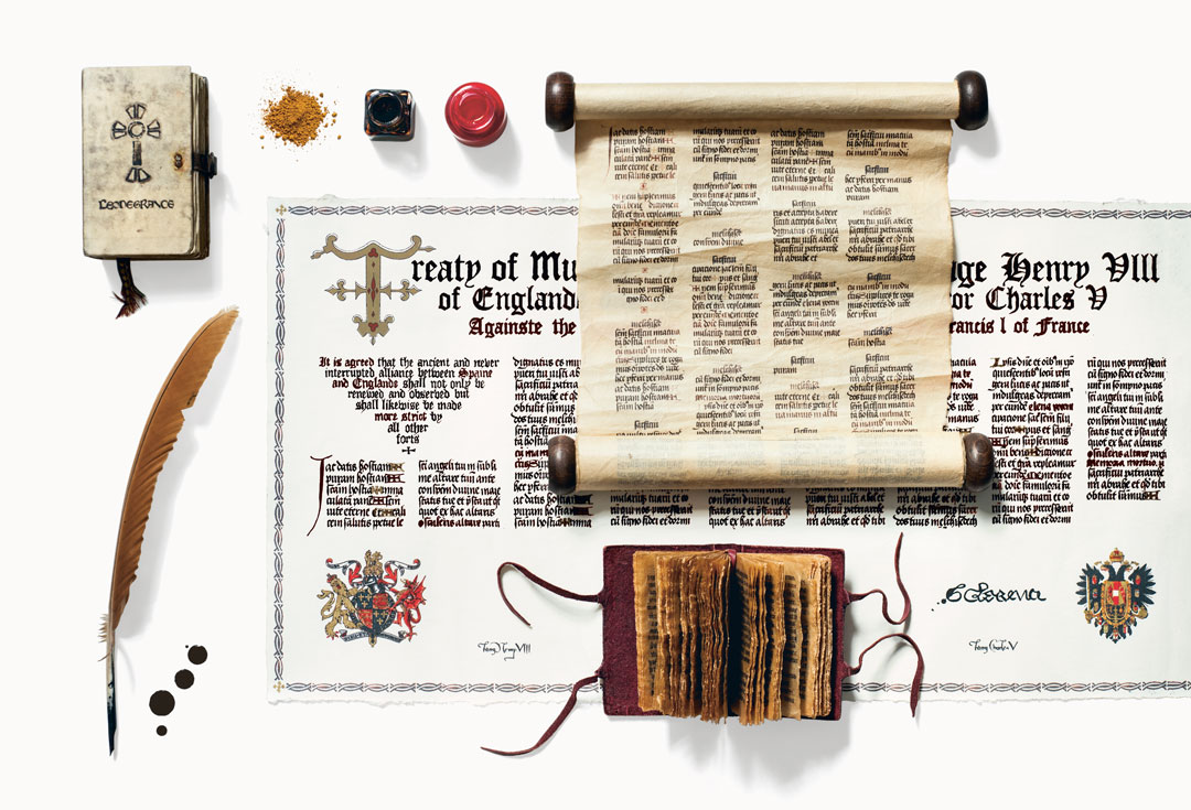 Manuscripts, scrolls, and books from seasons three and four of The Tudors, by Annie Atkins. As reproduced in Fake Love Letters, Forged Telegrams, and Prison Escape Maps: Designing Graphic Props for Filmmaking