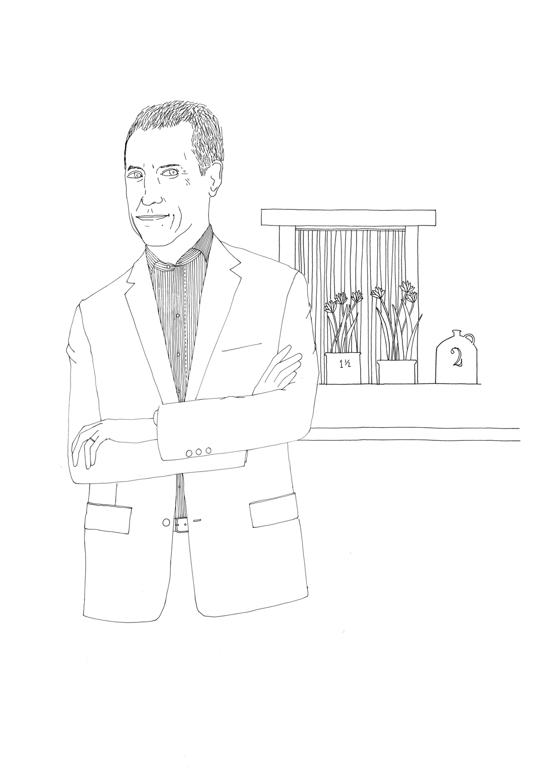Danny Meyer, as drawn by Nigel Peake for The Art of the Restaurateur