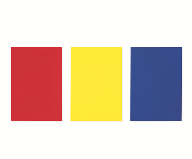 Red Yellow Blue II, 1965, acrylic on canvas, 3 panels, 82 x 189 inches, 208.3 x 480.1 cm. Photo credit: Milwaukwee Art Museum. From Ellsworth Kelly