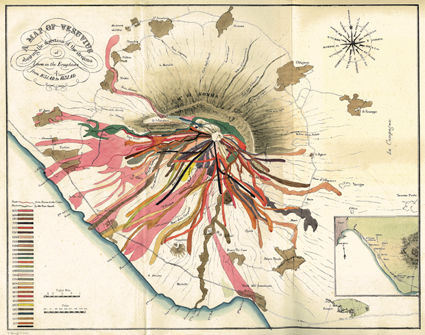 John Auldjo's map Of Vesuvius (1832). From Map