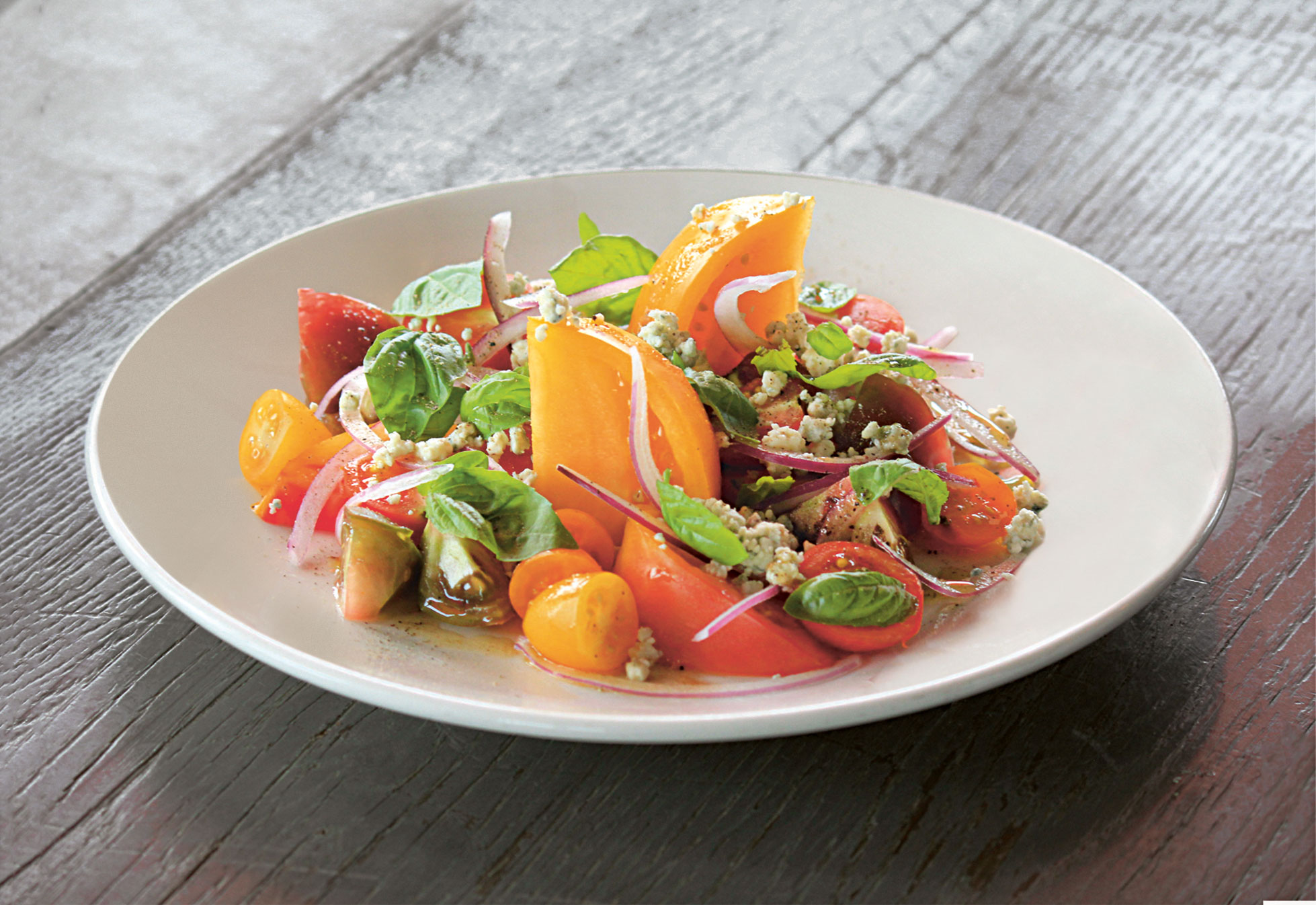 Rooftop heirloom tomato and basil salad, by John Mooney at Bell, Book & Candle