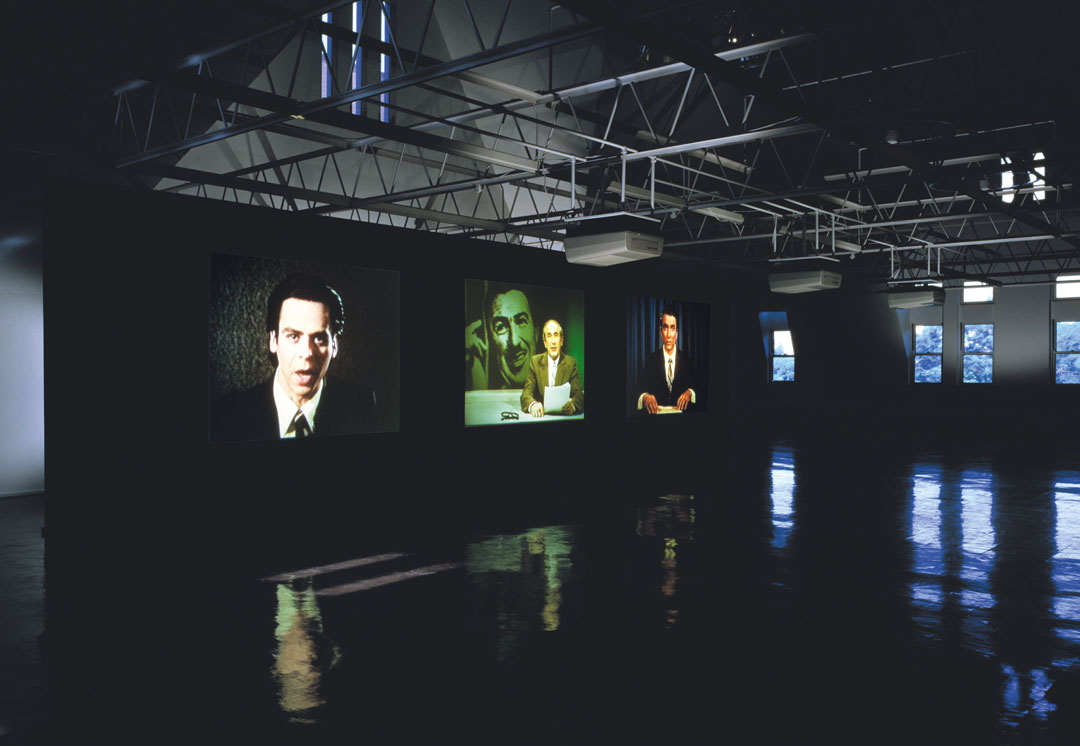 Stan Douglas, Evening, 1994. Three-channel video installation, color, sound, 14 min. 42 sec. (looped). Installation view: Renaissance Society, Chicago, 1995. Courtesy the artist, David Zwirner, New York, and Victoria Miro, London. © Stan Douglas