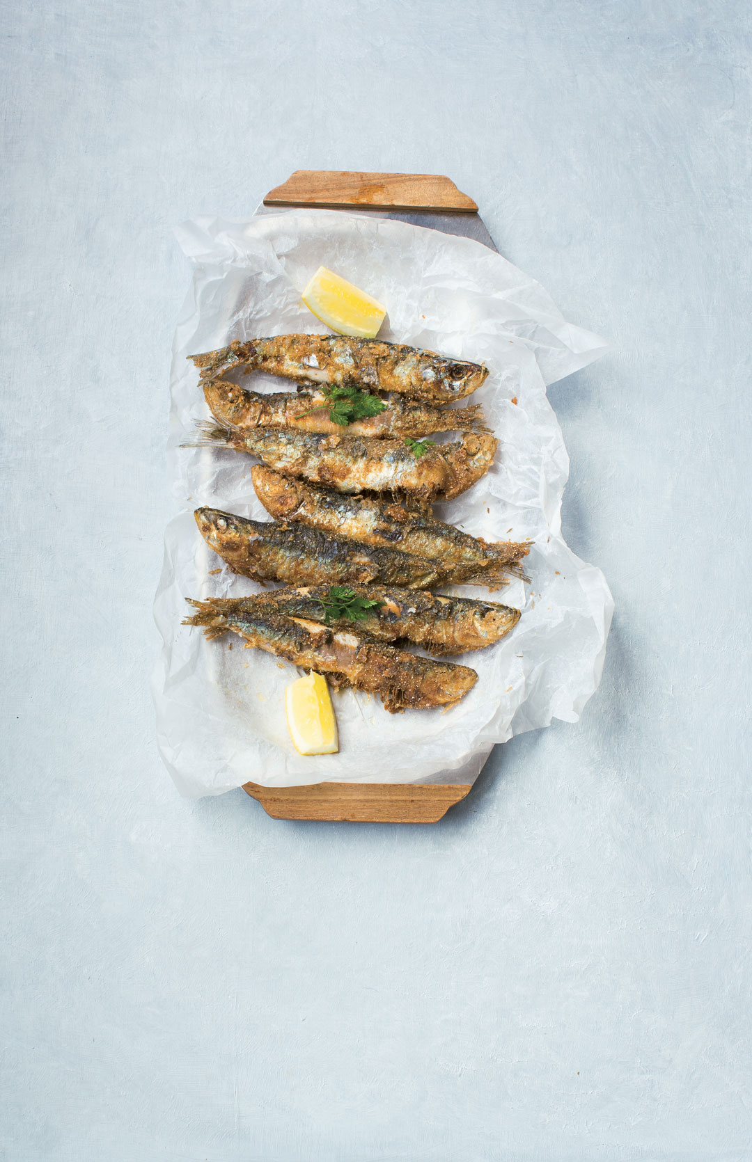 Deep-fried pilchards rolled in barley flour, from The Irish Cookbook