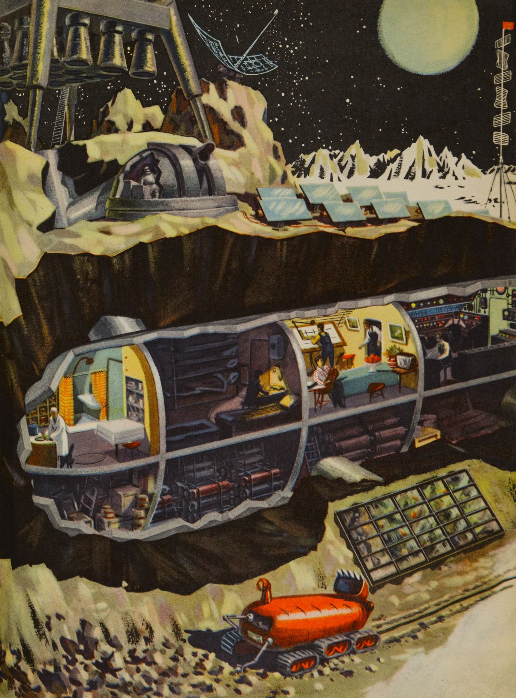 Technology for the Youth, issue 2, 1959, illustration by B. Dashkov for the article 'What Would a Space Station on the Moon Look Like?'