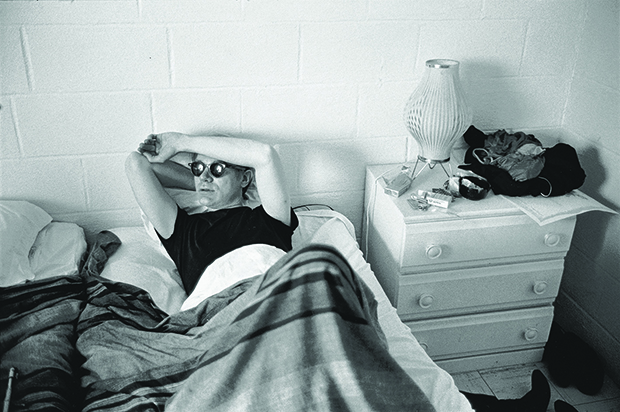 Warhol in hotel room during filming of My Hustler. From Factory: Andy Warhol