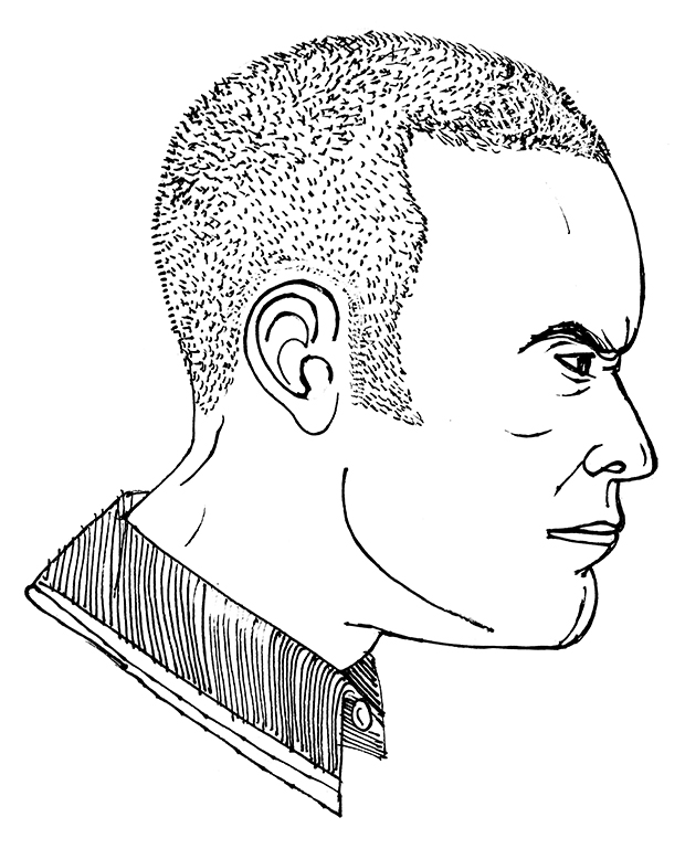The Barber Book's skinhead illustration, by Matteo Guarnaccia