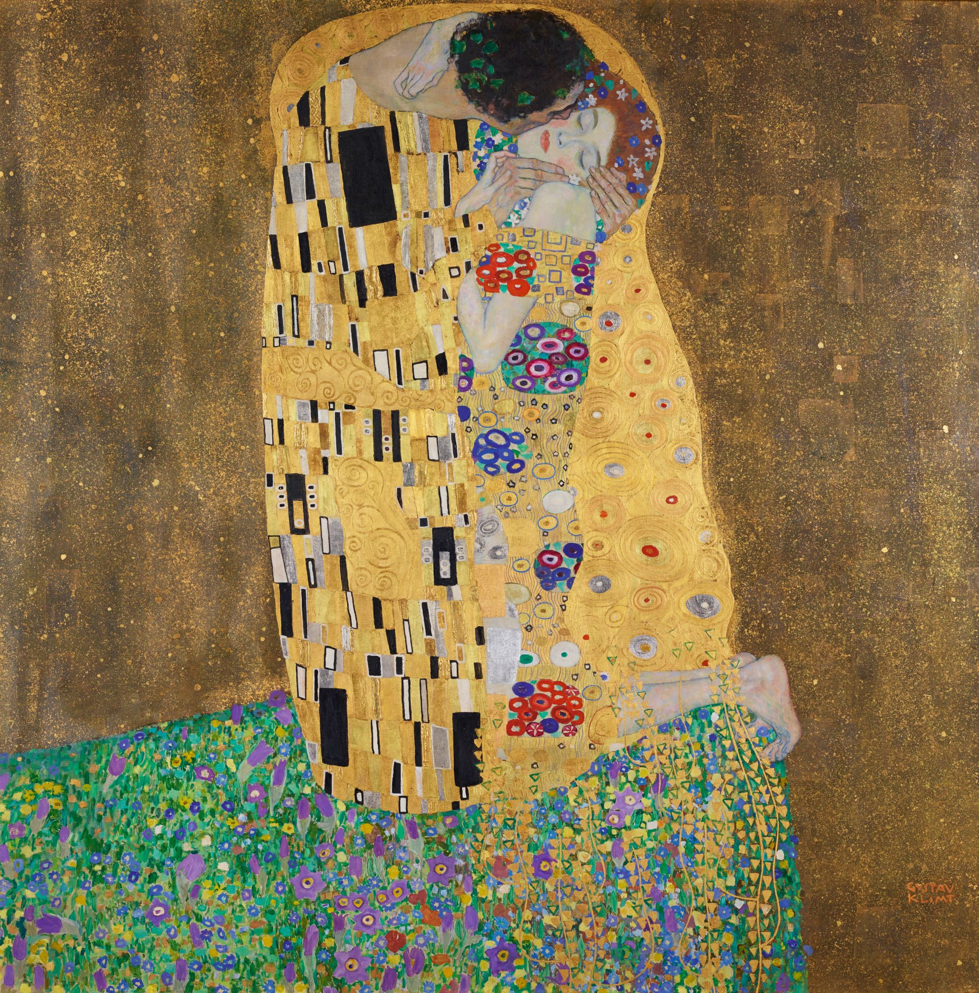 The Kiss (1907–08) by Gustav Klimt. As reproduced in Art in Vienna 1898-1918