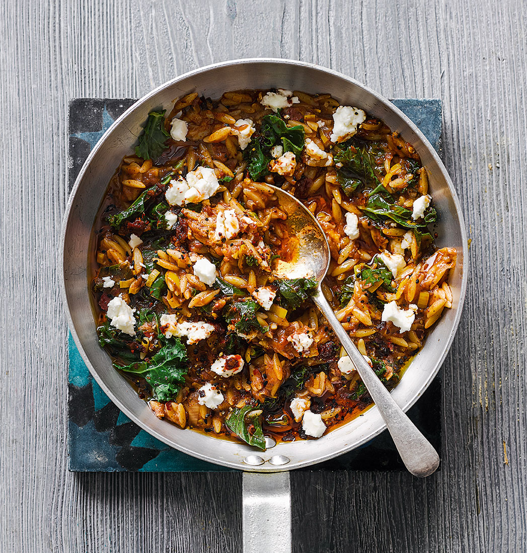 Quick orzo with kale and sumac from The Mezze Cookbook