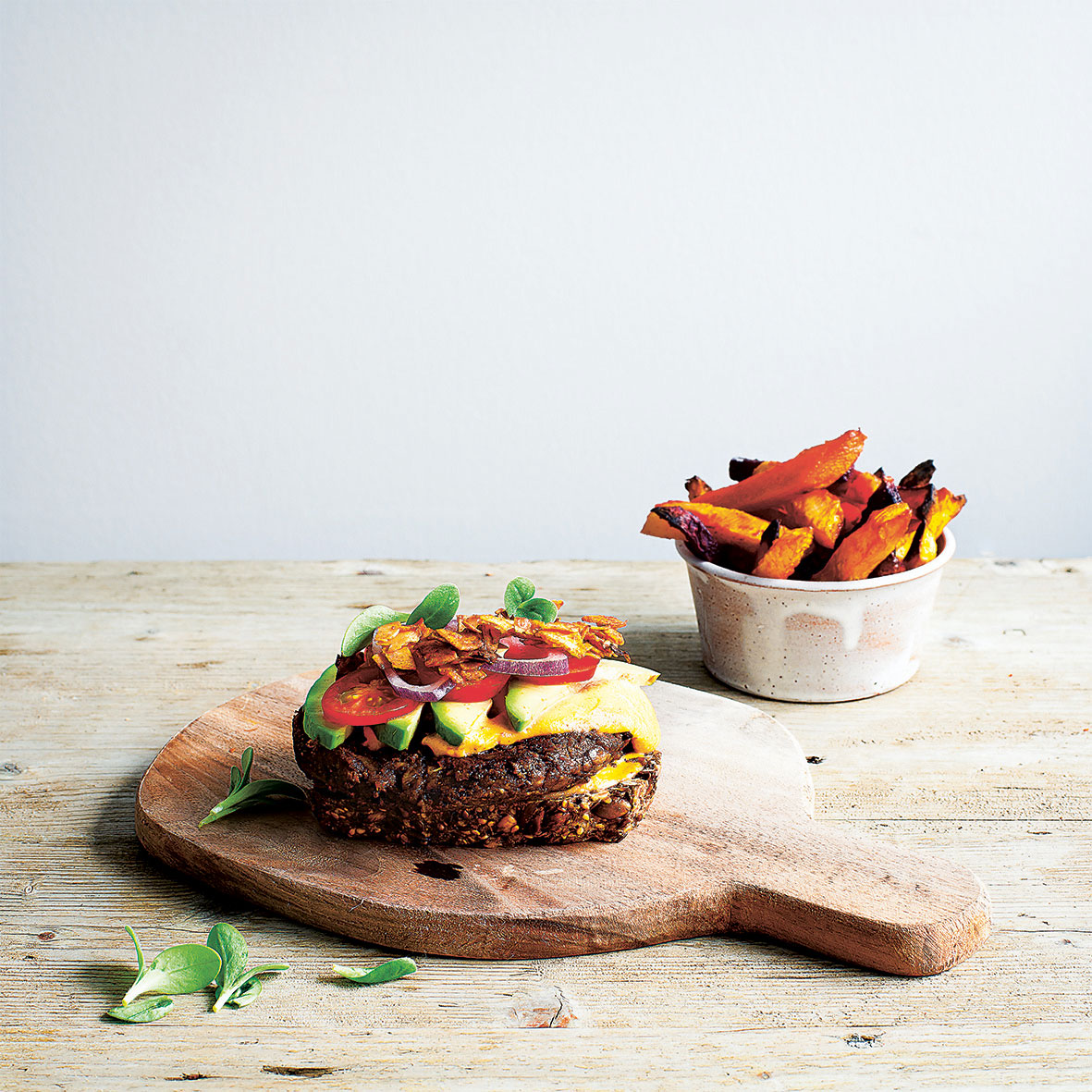 Vegan Burgers and Root Vegetable Fries. Photography by Simon Bajada