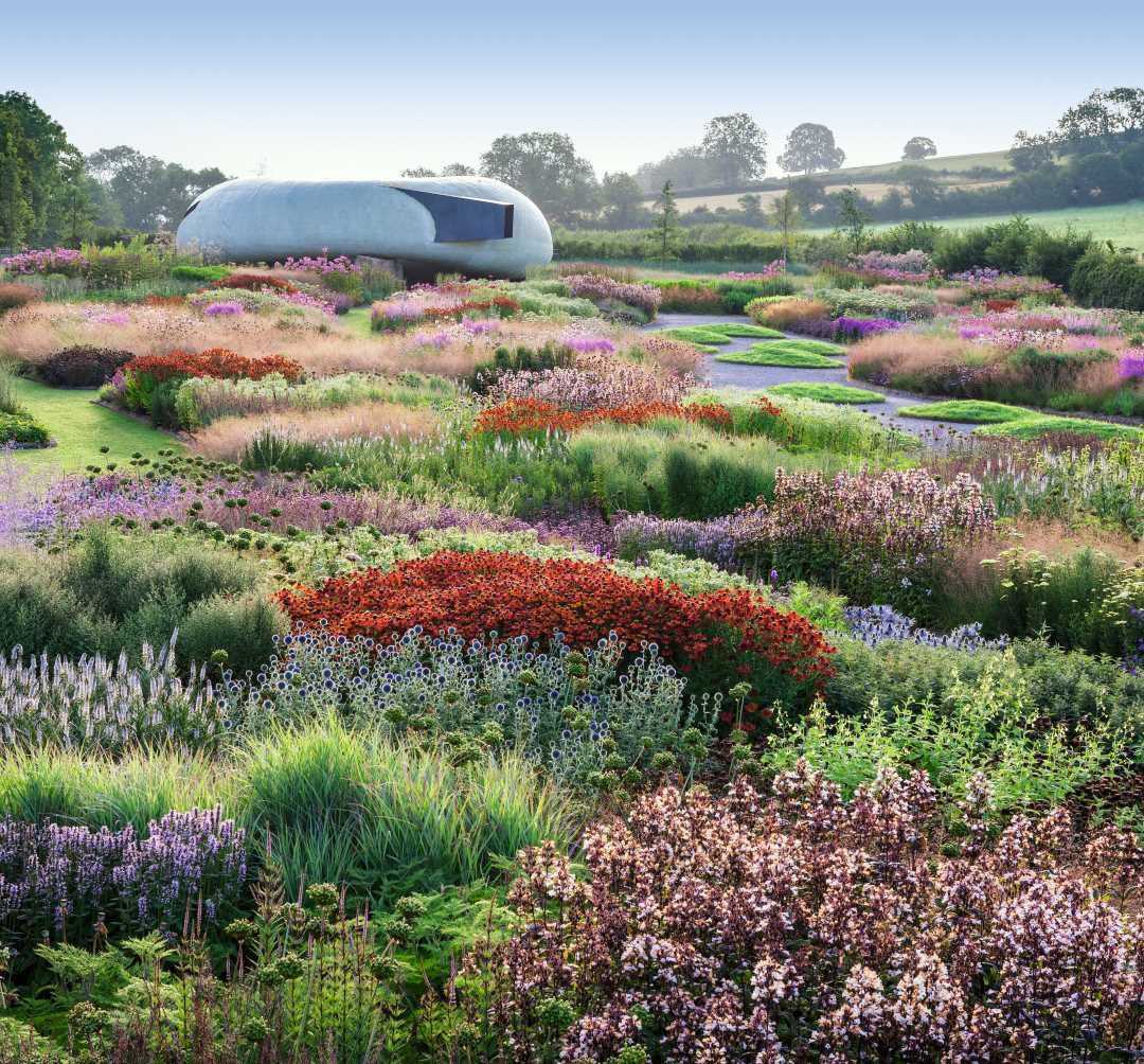New Perennial Planting. The Piet Oudolf-designed 0.6 hectare (1.5 acre) Oudolf Field Garden at Hauser and Wirth, Bruton, Somerset, England, UK. Open to the public