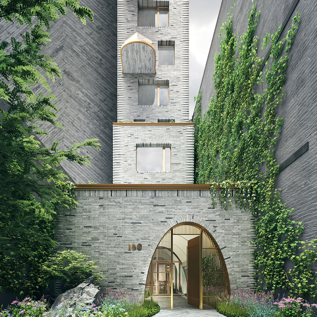 A rendering of 180 East 88th Street's private, gated entry