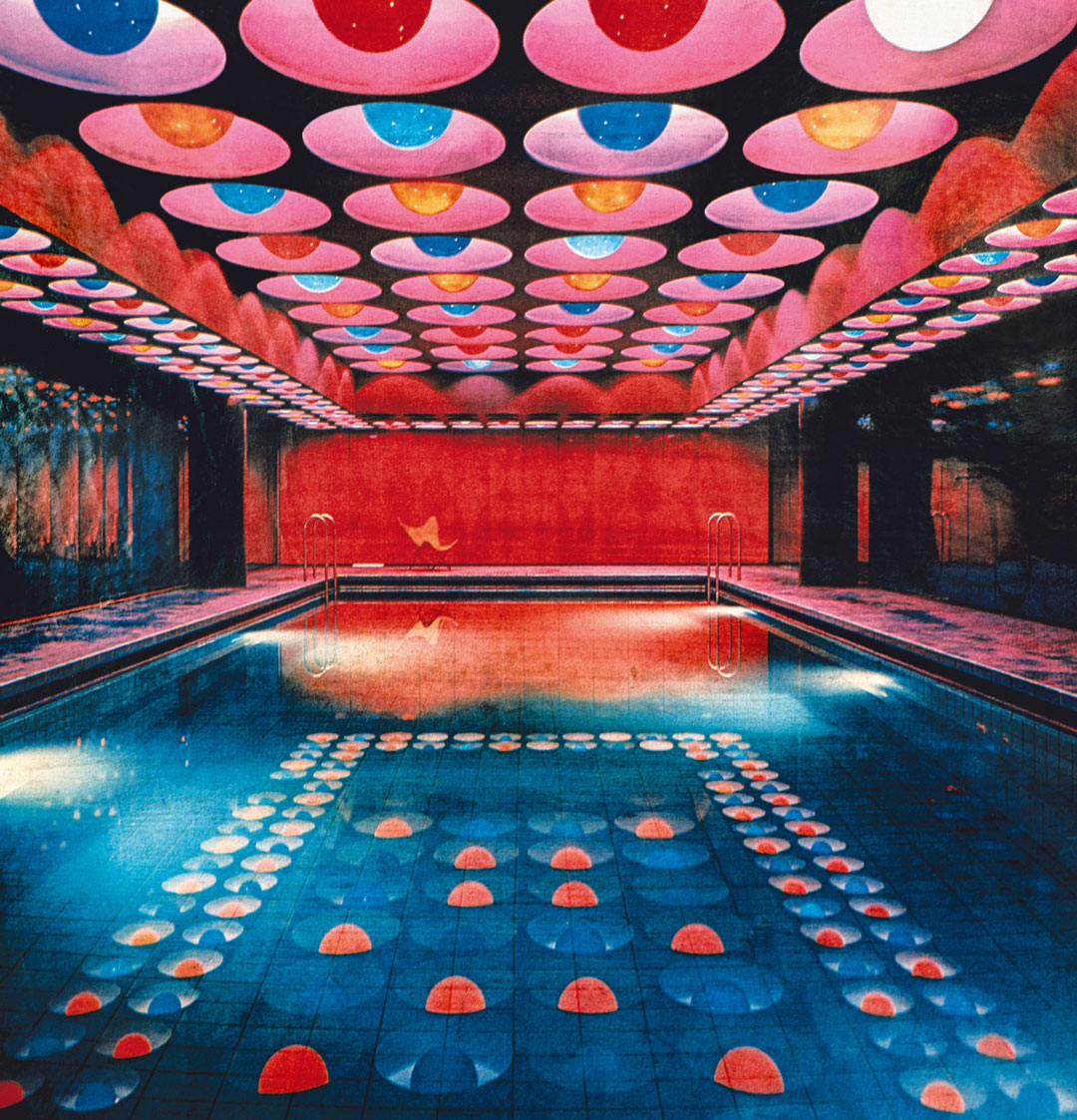 The swimming pool at the Spiegel building (1969) by Verner Panton